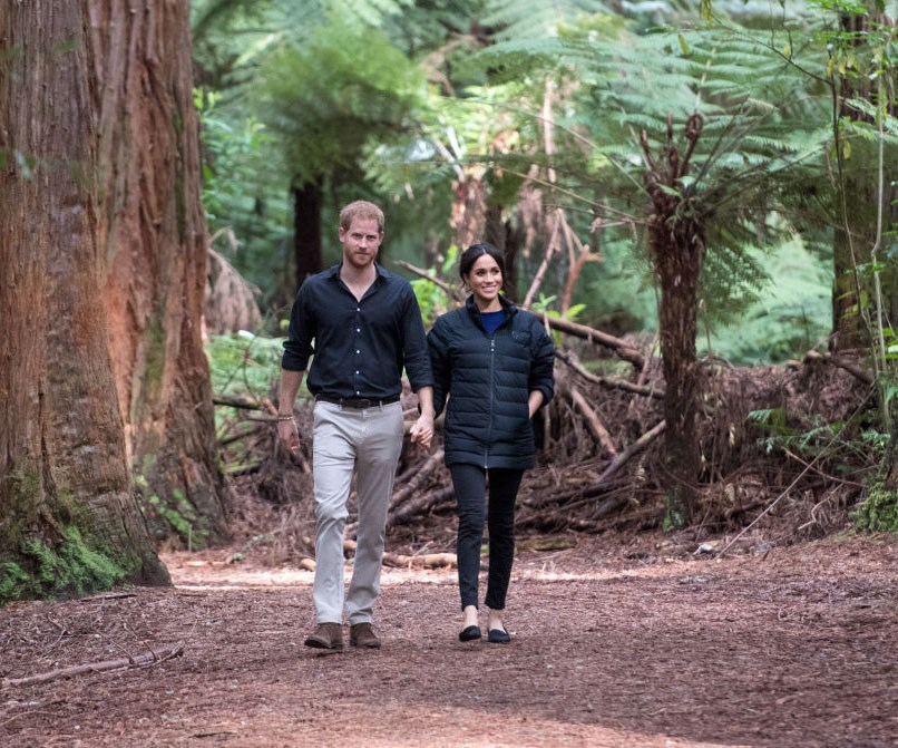 Duchess Meghan and Prince Harry spent the first day of 2020 enjoying a picturesque hike on Vancouver Island, Canada. *(Image: Getty)*