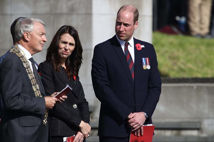 Prince William joined Prime Minister Jacinda Ardern and Auckand Mayor Phil Goff for the Auckland civic service at the Auckland Memorial Museum to commemorate Anzac Day. *(Image: Getty)*