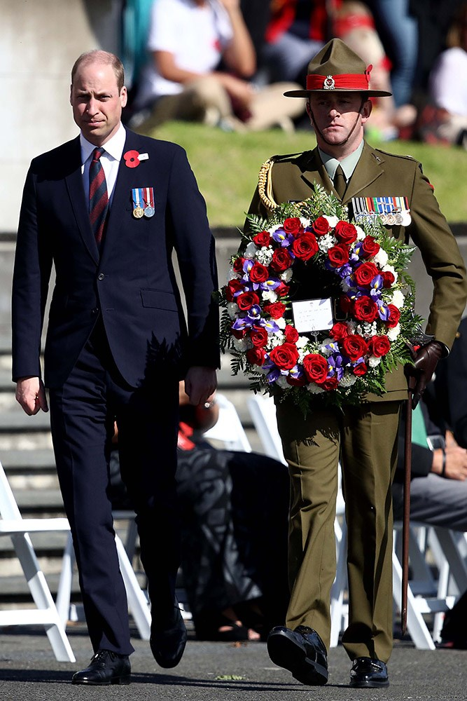Prince William was the first to lay a wreath on the war memorial cenotaph during the Auckland civic ceremony to commemorate Anzac Day. *(Image: Getty)*