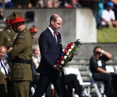 Prince William lays the first wreath at the Auckland civic service to commemorate Anzac Day