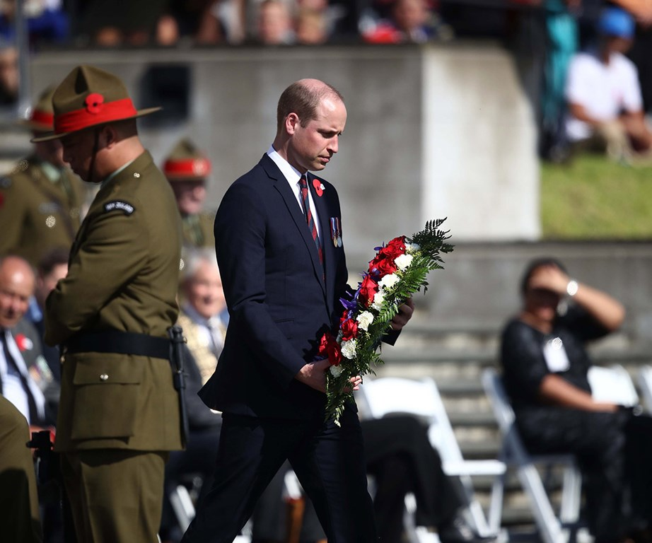 Prince William lays the first wreath during the civic service at the Auckland War Memorial Museum to commemorate Anzac Day. *(Image: Getty)*