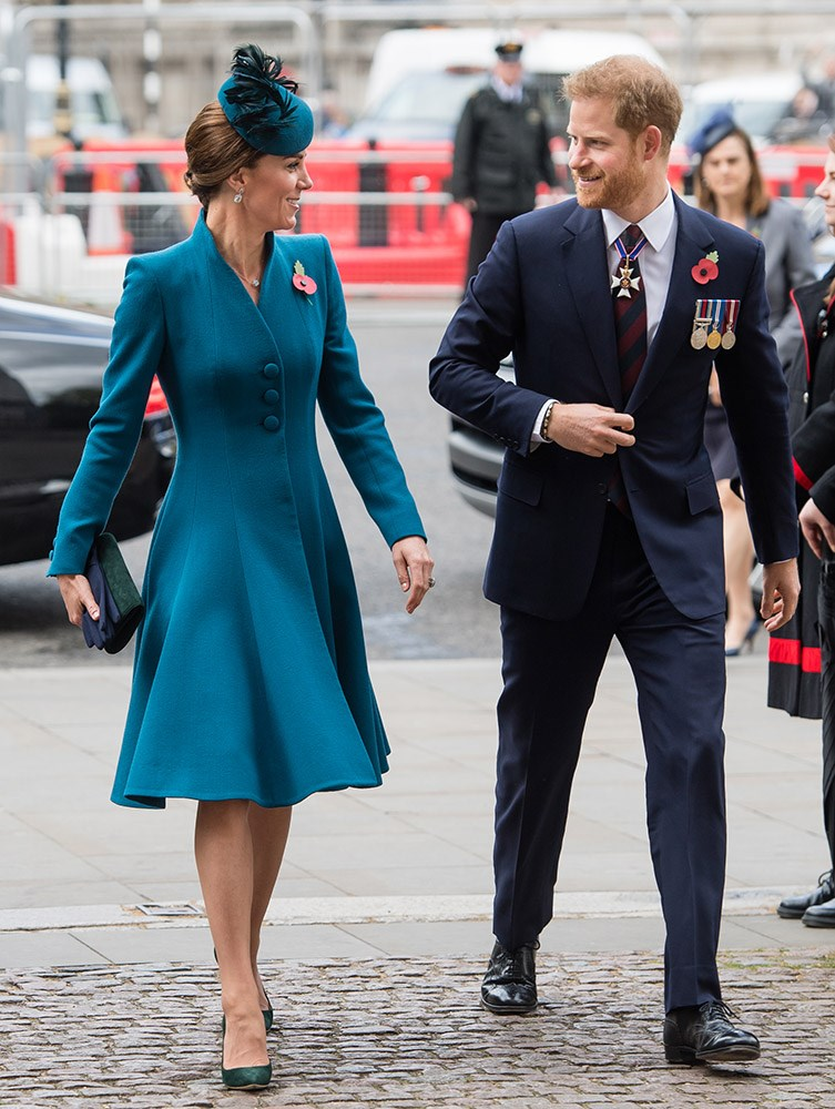 Duchess Kate and Prince Harry arrive at Westminster Abbey to commemorate Anzac Day. *(Image: Getty)*
