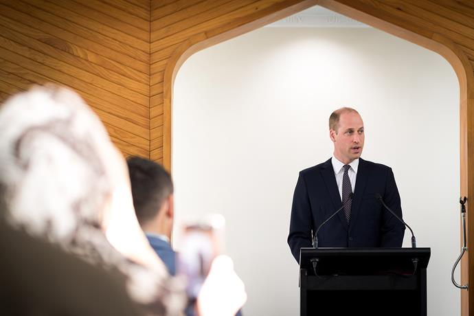 Prince William gave a passionate speech during his visit to Al Noor Mosque in Christchurch. *(Image: New Zealand Government)*