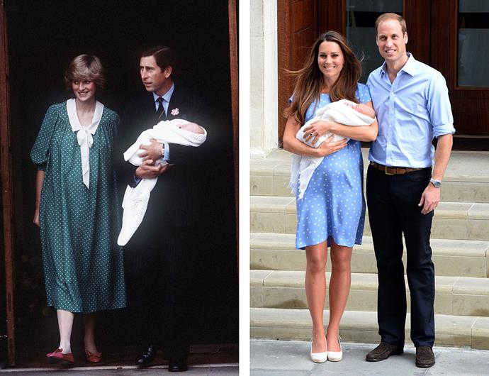 Left: Prince Charles and Princess Diana on the steps of Lindo Wing, St Mary's Hospital, with newborn Prince William, on 22 June, 1982. Right: Prince William and Catherine, Duchess of Cambridge on the steps of Lindo Wing with newborn Prince George, on July 23, 2013.