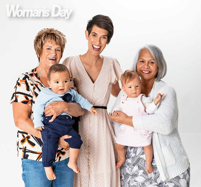 The power of mums! Portia with Lyn (left) and mother Teremoana Bennett and her twins, Harrison and Matisse.