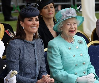 kate middleton and the queen smiling