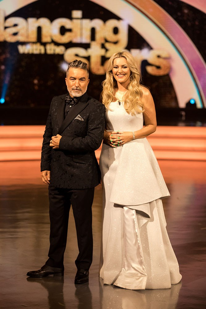 Sharyn with her co-host on *Dancing With The Stars*, Dai Henwood. *(Image: Supplied)*