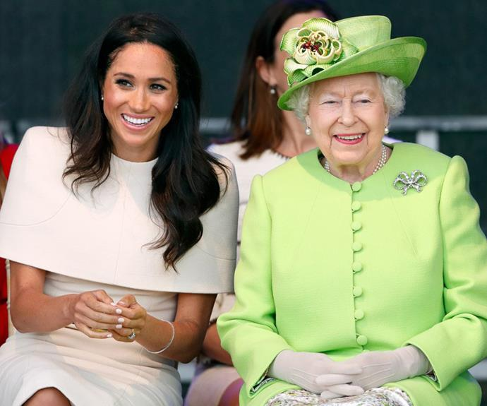 the queen and meghan markle laughing