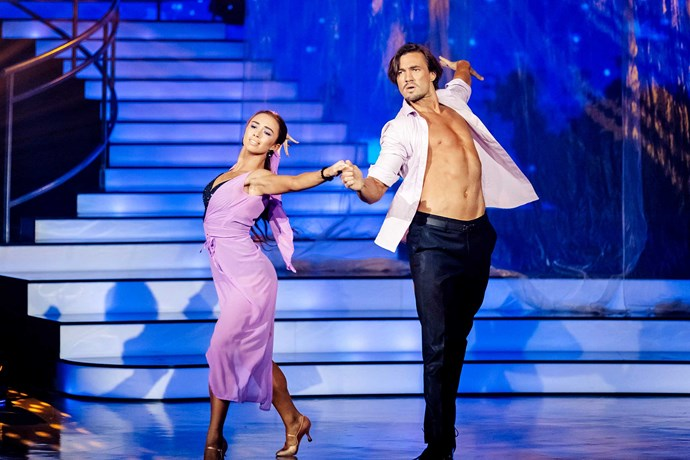 Putting the wow into a Viennese waltz! Clint and partner Brittany Coleman fire up the floor.