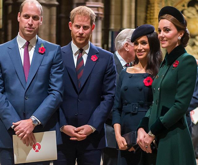 "William and Kate would reportedly be ""devastated"" if Harry and Meghan decided to move out of the UK. *(Image: Getty)*"