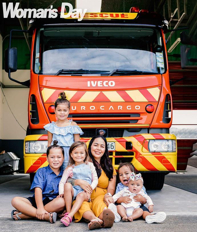 The busy mum with her kids (from left) Tuhoronuku, eight, Taiahaoho, seven, Ohomairangi, five, Te Kohuroa, three, and Te Aumarire.