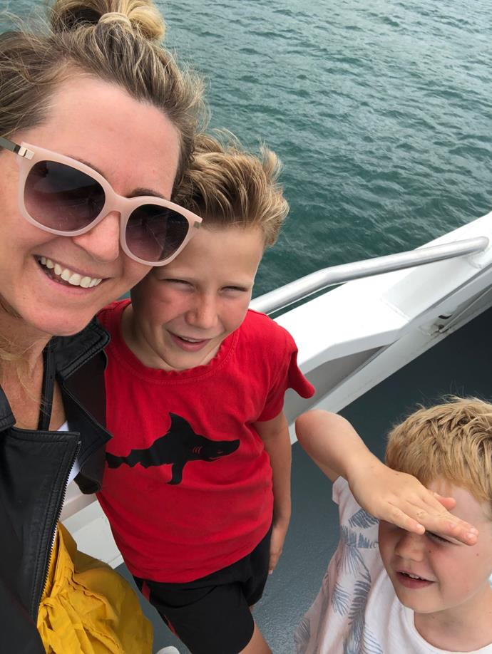 Rachel with her two younger sons, Lachie, left, and Finn.