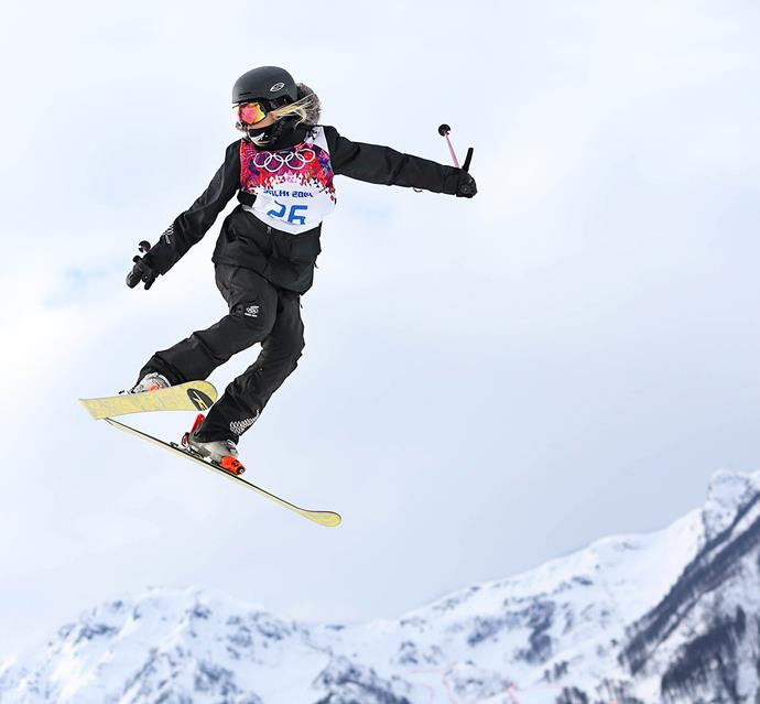 The skier freestyling at the Sochi Olympics.