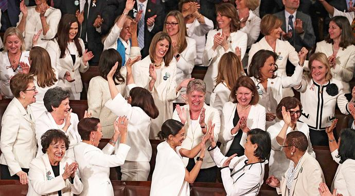A sea of women in white for Donald Trump's State of the Union. *Image: Getty*