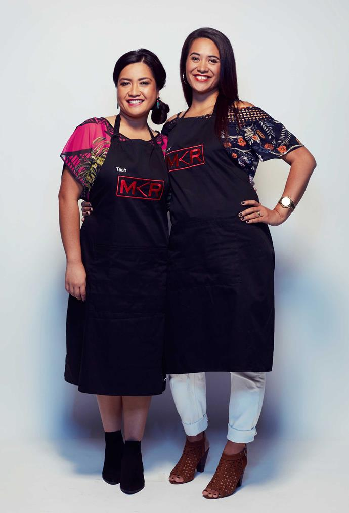 With friend and cooking partner Tash Whitewood on My Kitchen Rules.