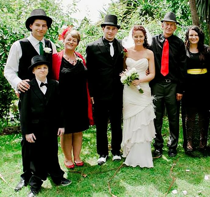 Jacob at brother Ben's wedding along with (from left) Matthew, mum Fiona, bride Claudette, dad Neil and Emma.
