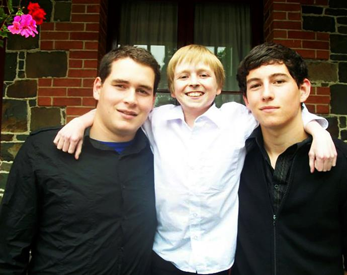 Jacob (centre) is close to his brothers Ben (left) and Matthew.