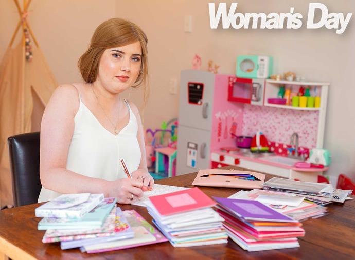 Krystal's busy penning  mementos for her wee girl's future milestones.