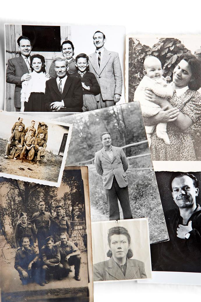 A selection of Josefine's family photos show her father (top left, in centre) with several of her siblings; her sister Anica (top right); her brother Roman (bottom right), Josefine herself in 1942 (bottom centre) and (centre) Leopold, the brother she was trying to find when she met Bruce.  In the far left photographs  Bruce is standing at back left with other prisoners of war in the bottom left pic, and at centre back in a group of men assigned to farm work during the war.