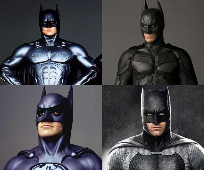 Some previous Batmen (clockwise from top left), Val Kilmer, Christian Bale, Ben Affleck and George Clooney.