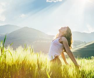 woman basking in sunlight