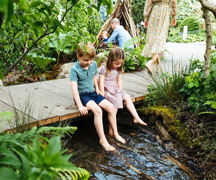 prince george and princess charlotte  back to nature garden