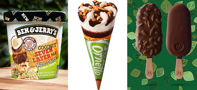 Ben & Jerry's Non Dairy range, Cornetto's Vegan Vanilla and Magnum's Dairy-Free range are all delicious dairy-free ice cream alternatives. *(Images: Supplied)*