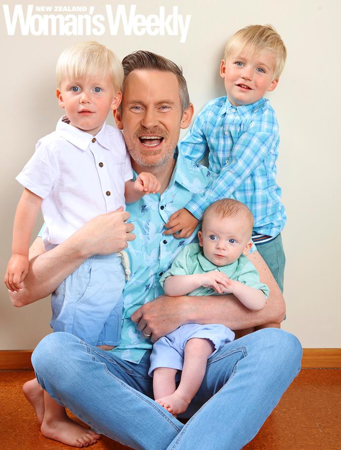 Tim Wilson with his sons Roman (4), Felix (3) and 10-month-old Wilfred.