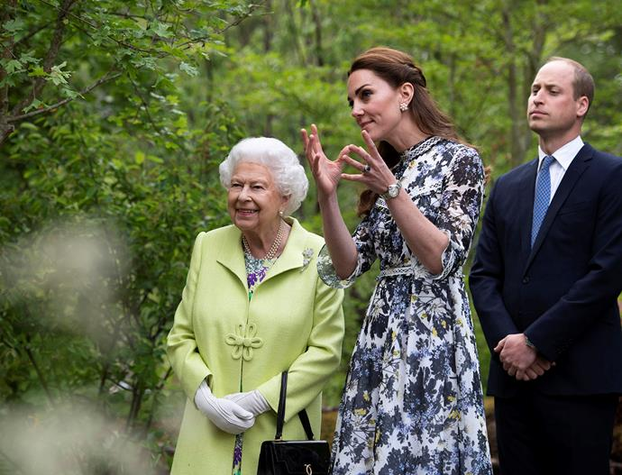 Queen Elizabeth and the Duke and Duchess of Cambridge at the Chelsea Garden Show this week. *(Image: Getty)*