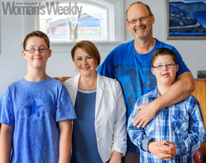 Counting their blessings (from left): Connor, Sandra, Brendon and Bradley.