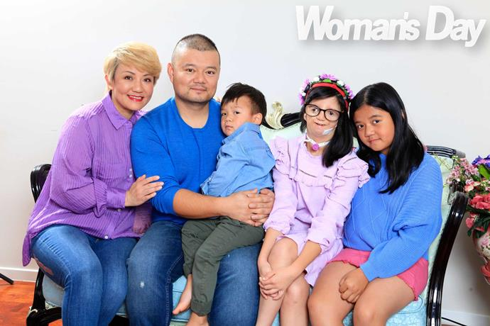 Liwen has the support of her family (from left) Lei, Jackie, Jackson, three, and Jessie, nine.