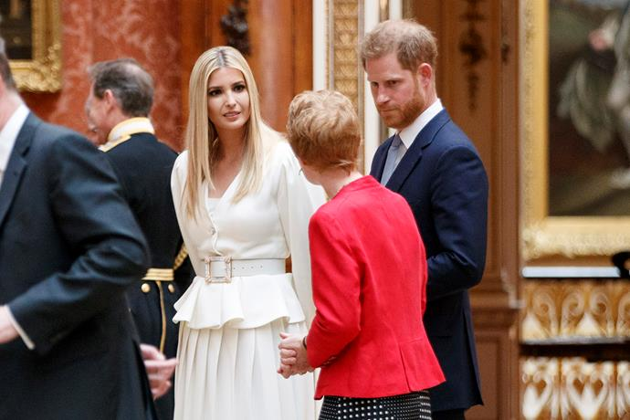 Donald Trump's daughter, Ivanka Trump, with Prince Harry viewing an exhibition at the Picture Gallery. *(Image: Getty)*