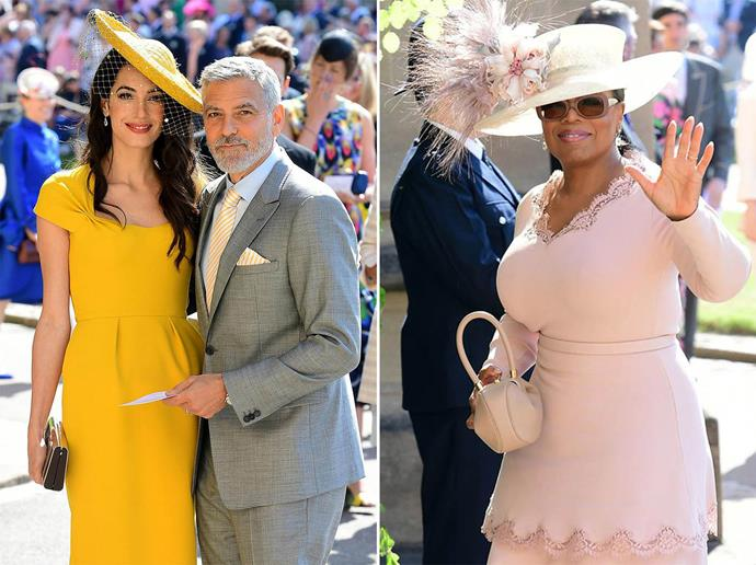 Amal and George Clooney and Oprah Winfrey arriving at Harry and Meghan's wedding last year. *(Image: Getty)*