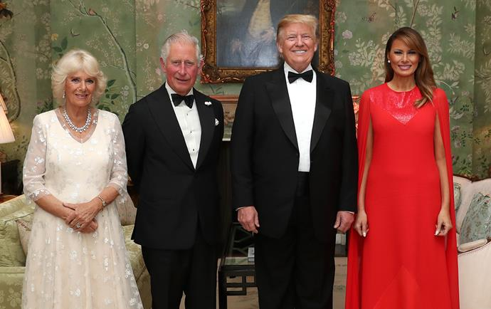 Prince Charles and Duchess Camilla were the guests of honour at Winfield House for Tuesday's dinner, hosted by the Trumps. *(Image: Getty)*