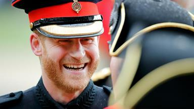 Prince Harry jokes with veterans and makes a heartfelt speech during the Founder's Day parade