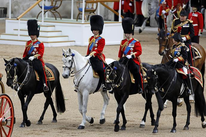 The Royal Colonels: Prince Charles, Prince William, Prince Andrew, Princess Anne and the Duke of Kent. *(Image: Getty)*