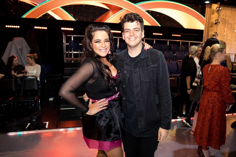 Laura with partner Joseph Moore on the set of *Dancing With The Stars NZ*.