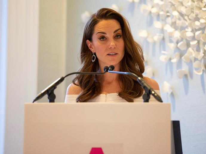 The duchess gave a brief speech at the gala dinner. *(Image: Getty)*