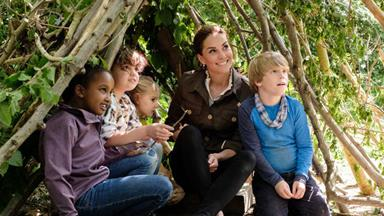Duchess Catherine makes a surprise appearance on a children's TV show and launches a royal competition