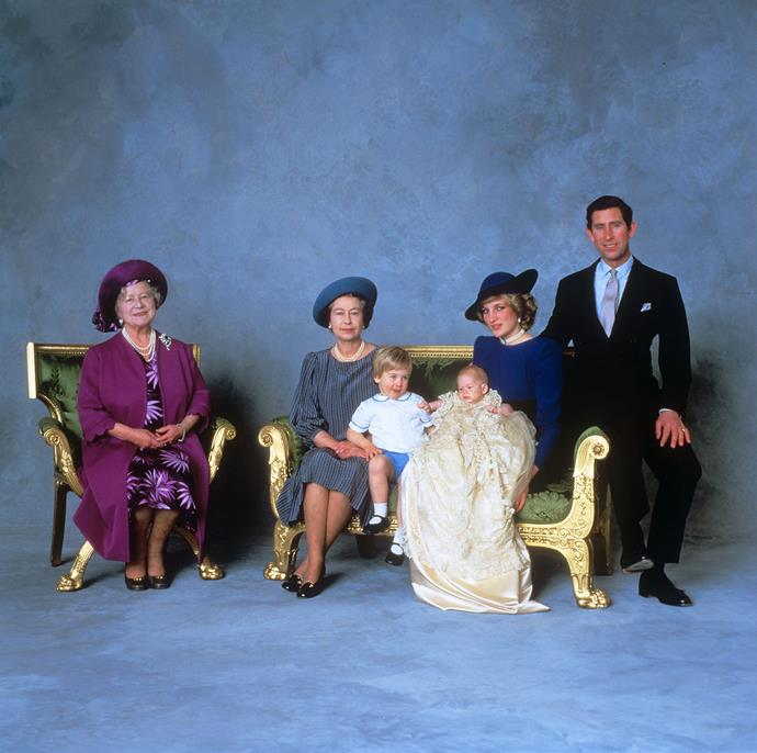 Prince Henry's (aka Harry) christening portrait taken in 1984. From left: The Queen Mother, The Queen, Prince William, Prince Harry, Princess Diana and Prince Charles. *(Image: Getty)*