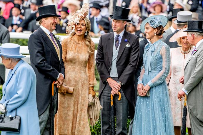 The Dutch King and Queen share a laugh with Prince William and Kate. *(Image: Getty)*