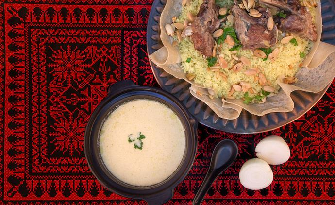 Mansaf is a Jordanian dish of lamb cooked in fermented yoghurt and served with rice and flatbread.