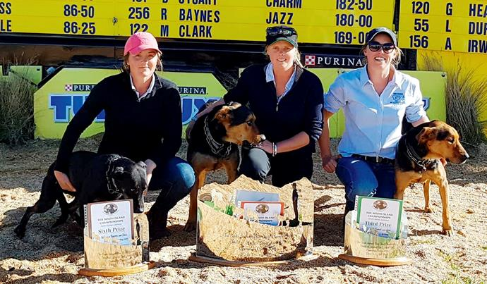 Jo (above centre, with her dog Guy and competitors Rebecca Baynes, left, and Steph Tweed) says the time was right for a woman to win the South Island trials.