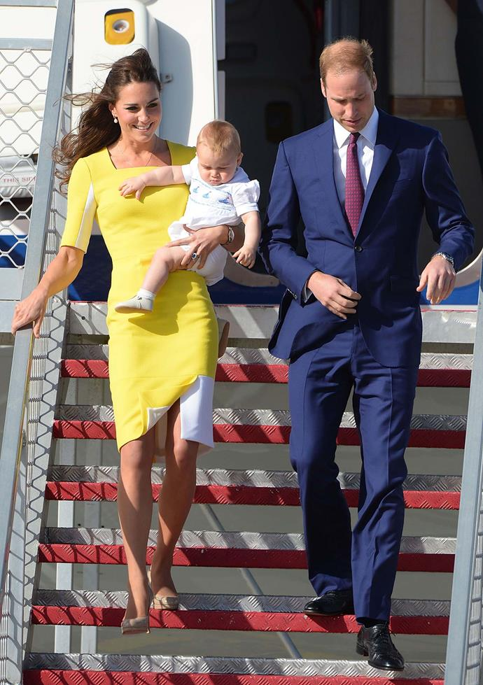 "**When Kate revealed Prince William had made a joke about the colour of her dress:** <br><br> When William and Kate touched down in Australia for their royal tour, with a baby Prince George in tow, Kate wore a chic yellow and white dress, but revealed - ""William said I look like a banana!""  <br><br> *(Image: Getty)*"