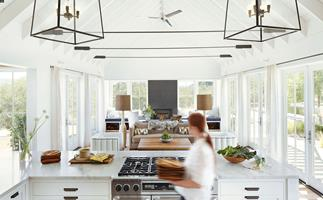 Modern country feel kitchen marble counters