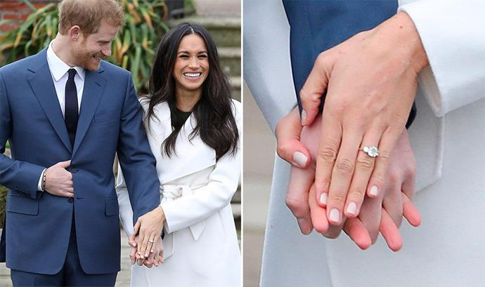 Harry and Meghan were all smiles as they announced their engagement and showed off the (original) sparkling ring. *(Image: Getty)*