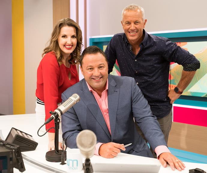 Amanda with her co-hosts on *The AM Show*, Duncan Garner (centre) and Mark Richardson. She says being the only woman in the team is a privilege and a responsibility.