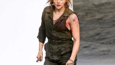 Chloe Gracë Moretz films a brutal fight scene for new movie Shadow in the Cloud in Auckland