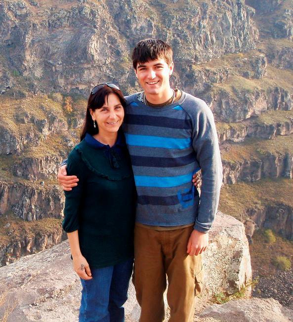 Jo with son Denali in Yerevan, Armenia in 2008.