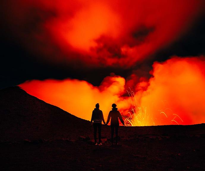 The majestic Mount Yasur on Tanna Island. You can hike to its summit to experience spectacular views.
